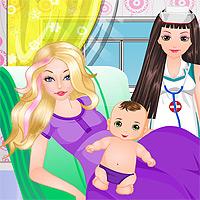 Игры для девочек - Беременная Барби рожает - 7725 ru
