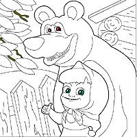 игра раскраска маша и медведь красят забор
