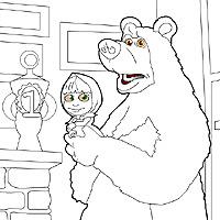 Играть в игру раскраски маша и медведь