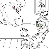 Игра Раскраска Медведь учит Машу считать
