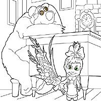 Игра Раскраска Маша на руках у Медведя